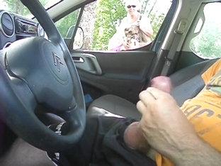 Public Flash Car Watching Russian Milf