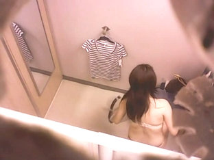 Slim And Sexy Asian Chick In The Changing Rooms Wearing Tiny Thong
