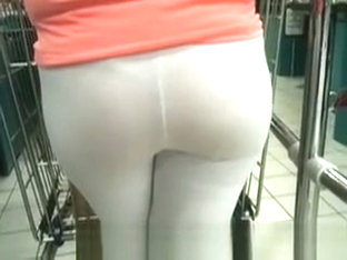 Beautifull Ass In White See Through Leggins