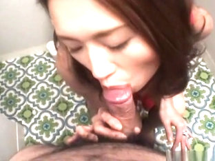 Hot Asian MILF Sucking Cock In Bathroom