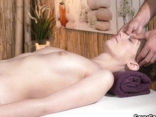 Hairy Pussy Slut Fucked On Massage Table