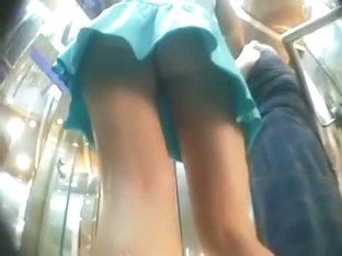Sexy Blue One Piece Blonde Upskirt Candid Video