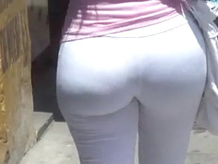 Perfect Round Ass In Tight White Pants