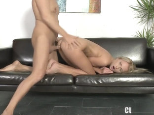 Blonde Ivana Strips And Poses Before She Inhales His Dick And Gets Drilled