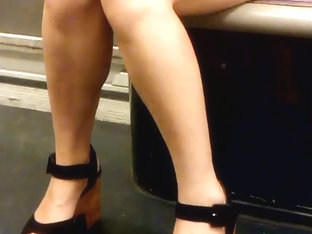 Asian MILF Legs And Heels In Paris Subway 1