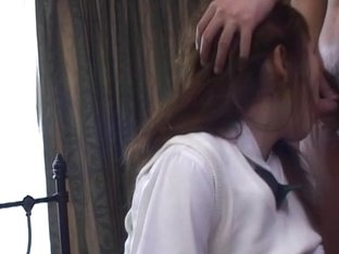 Japanese Schoolgirl In Uniform Plowed Deep In Her Hairy Slit