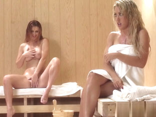 Horny Blond In The Sauna