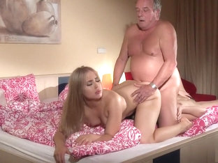 Old Young - Threesome Two Teens Fucked By Grandpa Cock In All Tight Holes