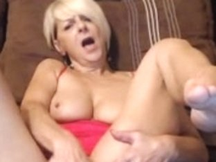 Hot Older Blonde Milf Plays With Her Pussy In Bed.