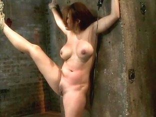 Hot Flexible Asian With Big Tits & Nippleshas Her Leg Pulled Up & Suspended! Cums Over & Over.