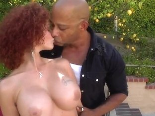 Busty Redhead Joslyn James Gets Huge Black Dick Outside