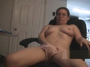 Geeky Glasses Girlfriend Keeps Her Panties On To Masturbate