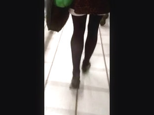 Candid Pantyhose Miniskirt