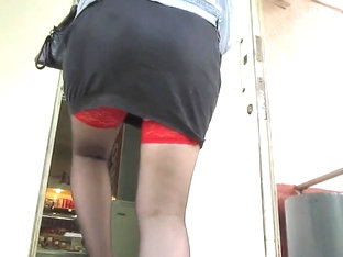Girl In Black Stockings With Red Tops Going Upstair