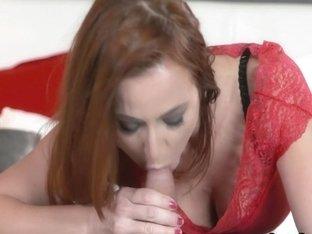 Horny Redhead MILF Sucked Limp Cock