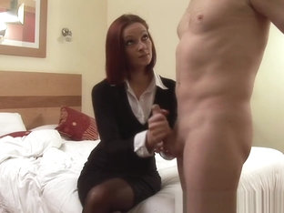 Classy Cfnm Redhead Jerking Off Lucky Cock