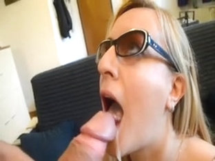 Golden-haired Gal In Glasses Takes Massive Face Hole Creampie