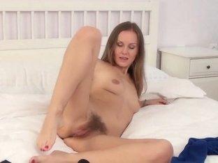 Lera Masturbates On A White Bed