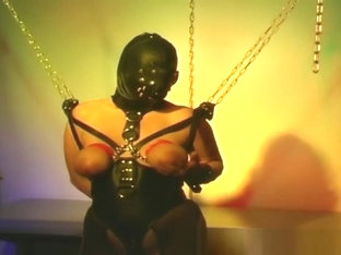 Big Melons Tied Slave Chick Abused Chain Masked