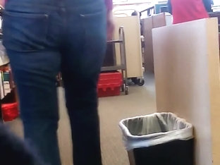 Candid Librarian Jeans Ass