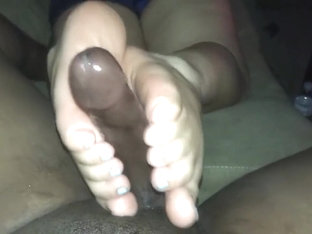Wife Footjob On Couch (blue Polish)