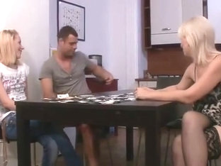 Strip Poker With His Gf And Mom Leads To Dildo Fucking