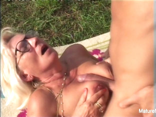Blonde Grandma Gets Some Cum On Her Glasses - Mature'ndirty
