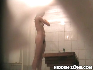 Little Bushy Cunt Was Taped By Hidden Shower Hunter