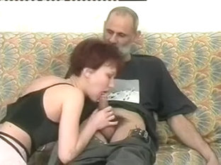 Slutty MILF In Pantyhose Juices An Older Mans Penis