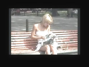 Spying A Cute Blonde On Bench Bvr