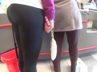 Girl In Black Leggings With Nice Ass