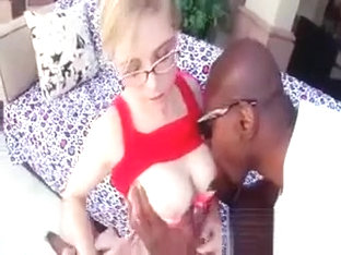 Chick In Glasses Fitting Black Giant Dick In Mouth And Cunt