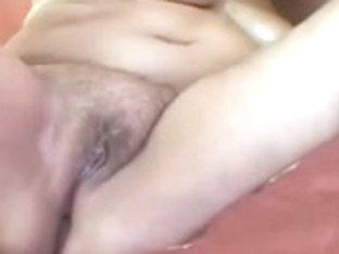 Overweight Golden-haired Older Masturbation On Sofa